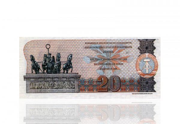 DDR Gedenkbanknoten Nachdruck 20 Mark 1989