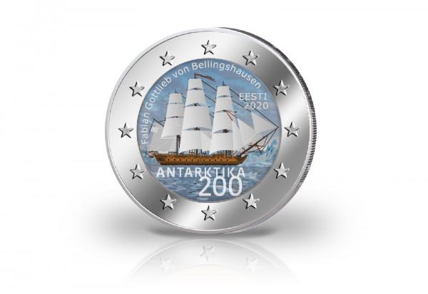 2 Euro 2020 Estland 200 Jahre Entdeckung Antarktis mit Farbmotiv