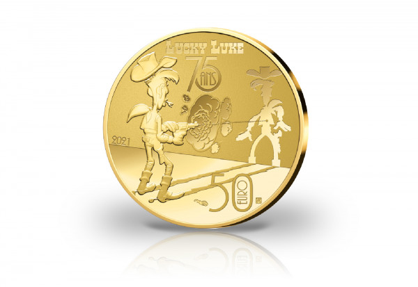 50 Euro Goldmünze 2021 Frankreich Lucky Luke PP im Etui