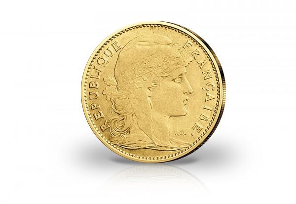 10 Francs Goldmünze 1899-1914 Frankreich Marianne Hahn