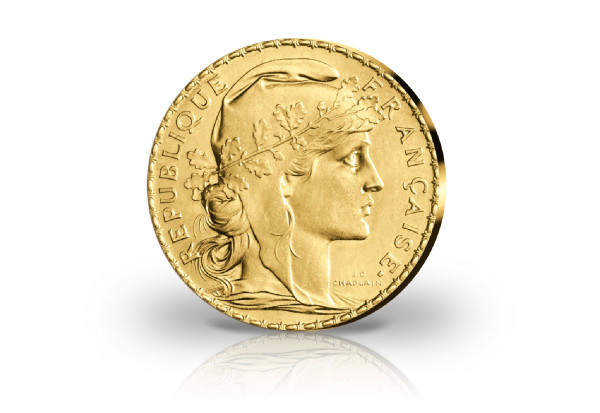 20 Francs Goldmünze 1899-1914 Frankreich Marianne Hahn