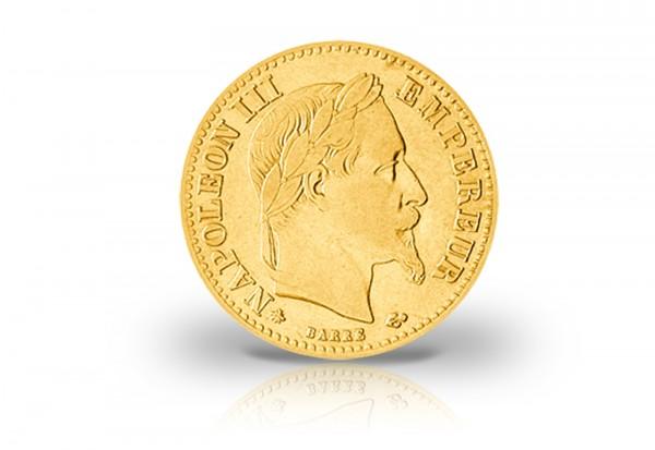 10 Francs Goldmünze 1861-1869 Frankreich Napoleon III. mit Kranz