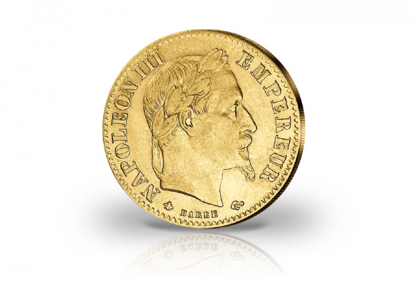 20 Francs Goldmünze Frankreich Napoleon III. mit Kranz ss/vz