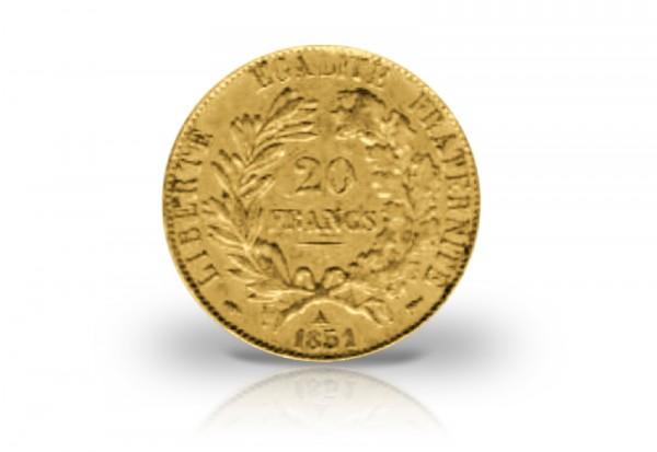 20 Francs Goldmünze 1849-1851 Frankreich Cereskopf