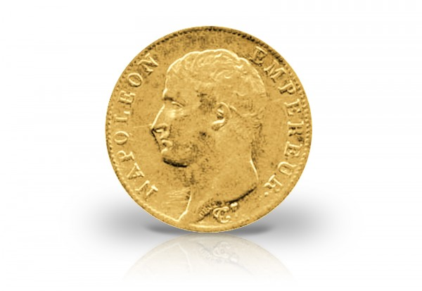 20 Francs Goldmünze 1806-1807 Frankreich Napoleon I. ohne Kranz