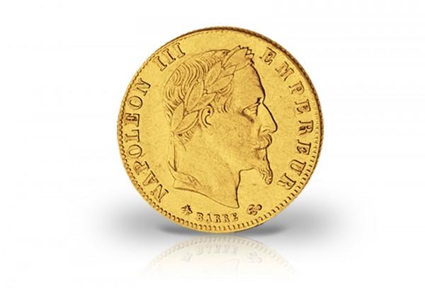 5 Francs Goldmünze 1862-1868 Frankreich Napoleon III. mit Kranz