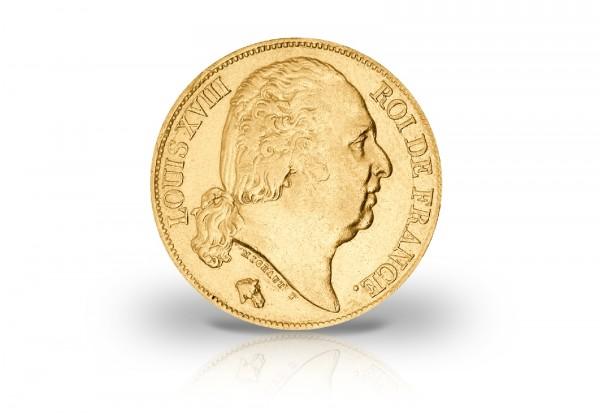 20 Francs Goldmünze 1815-1824 Frankreich Louis XVIII. ohne Uniformjacke
