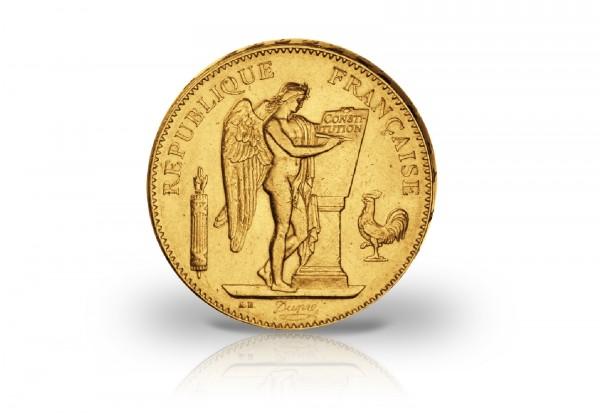 100 Francs Goldmünze 1878-1913 Frankreich Genius stehender Engel
