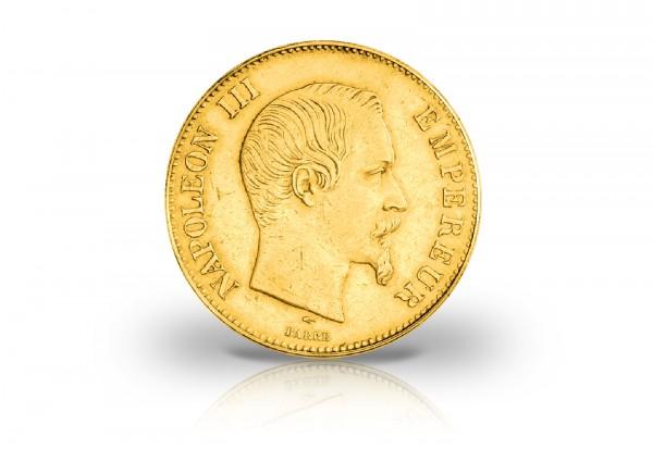 100 Francs Goldmünze 1855-1859 Frankreich Napoleon III. ohne Siegerkranz