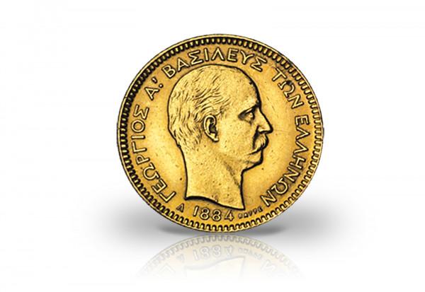 20 Drachmen Goldmünze 1884 Griechenland König Georg I. ss/vz