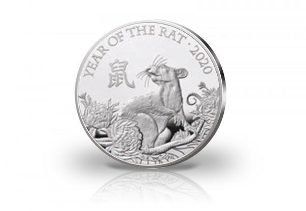 Lunar Serie 1 oz Silber 2020 Großbritannien Jahr der Ratte