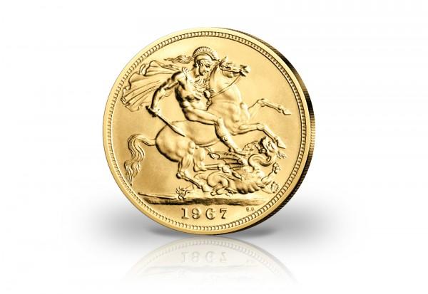 1 Sovereign Goldmünze Großbritannien 1957-1968 Queen Elisabeth II.