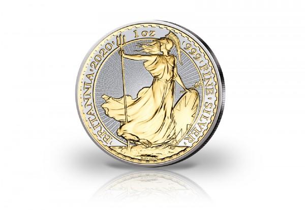 Britannia 1 oz Silber 2020 Großbritannien veredelt mit 24 Karat Goldapplikation