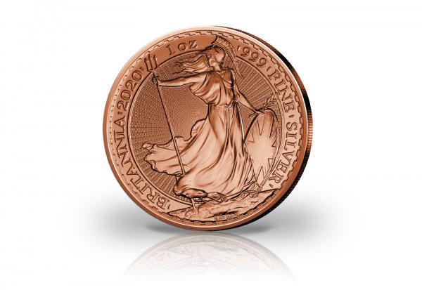 Britannia 1 oz Silber 2020 Großbritannien veredelt mit Rotgold