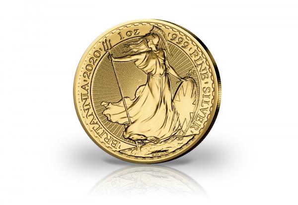 Britannia 1 oz Silber 2020 Großbritannien veredelt mit 24 Karat Gold