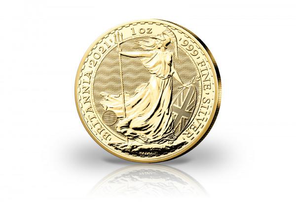 Britannia 1 oz Silber 2021 Großbritannien veredelt mit 24 Karat Goldauflage