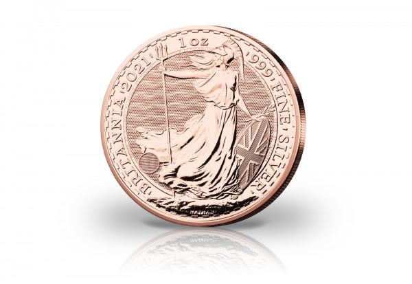 Britannia 1 oz Silber 2021 Großbritannien veredelt mit Rotgold