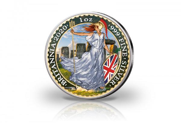 Britannia 1 oz Silber 2020 Großbritannien Stonehenge veredelt mit Farbapplikation
