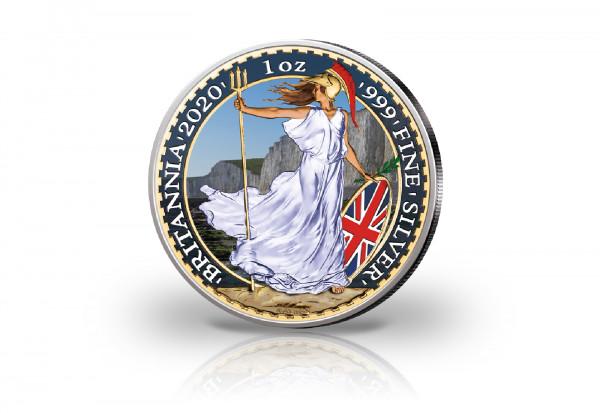 Britannia 1 oz Silber 2020 Großbritannien veredelt mit Farbapplikation