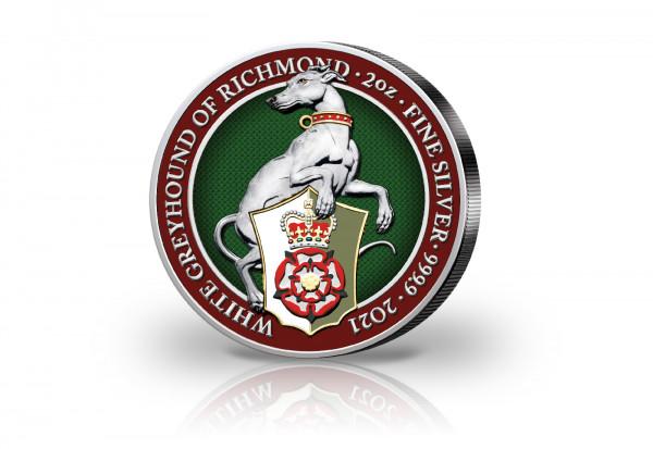 The Queens Beasts Serie 2 oz Silber 2021 Großbritannien White Greyhound veredelt mit Farbapplikation