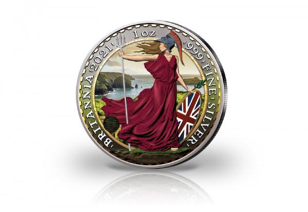 Britannia 1 oz Silber 2021 Großbritannien veredelt mit Farbapplikation