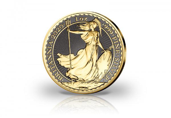 Britannia 1 oz Silber 2020 Großbritannien veredelt mit Ruthenium und 24 Karat Gold