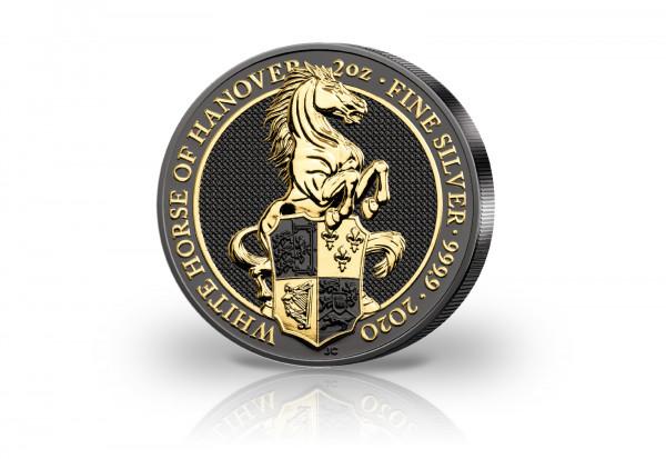 The Queens Beasts Serie 2 oz Silber 2020 White Horse veredelt mit Ruthenium 24 Karat Goldapplikation