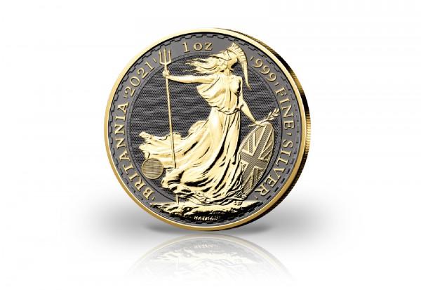 Britannia 1 oz Silber 2021 Großbritannien veredelt mit Ruthenium und 24 Karat Goldauflage