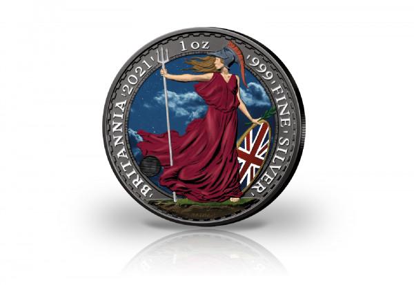 Britannia 1 oz Silber 2021 Großbritannien veredelt mit Ruthenium und Farbapplikation
