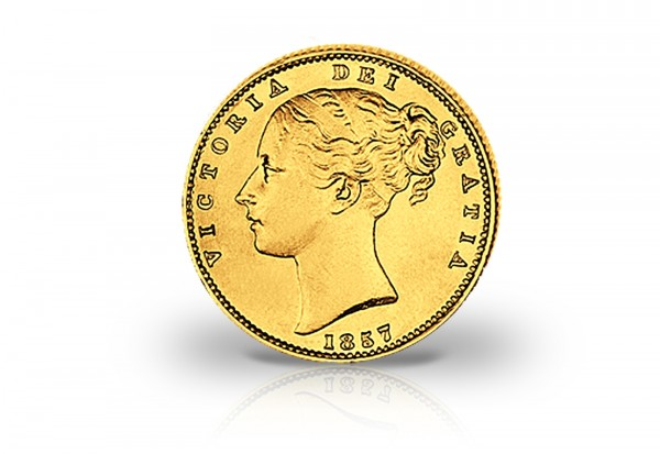 1 Sovereign Goldmünze 1838 - 1872 Großbritannien Victoria mit Wappen