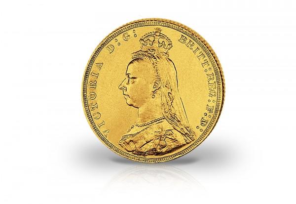 1 Sovereign Goldmünze 1887-1892 Großbritannien Victoria mit Krone