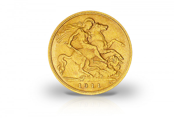 1 Sovereign Goldmünze 1911 - 1919 Großbritannien Georg V.