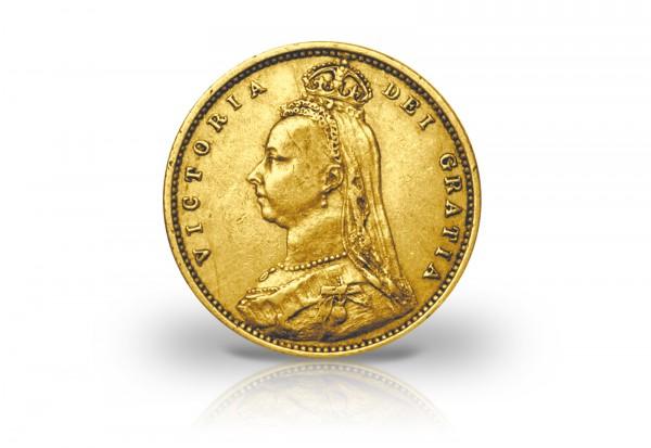 1/2 Sovereign Goldmünze 1887-1893 Großbritannien Victoria mit Krone