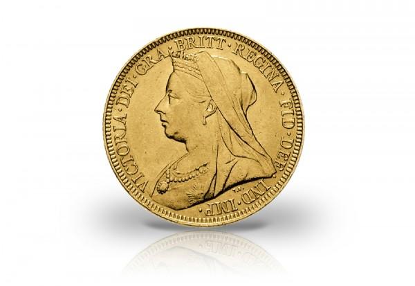 1 Sovereign Goldmünze 1893-1901 Großbritannien Victoria mit Witwenschleier