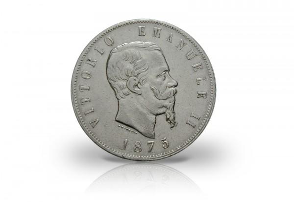 Italien 5 Lire Silbermünze Vittorio Emmanuele II.
