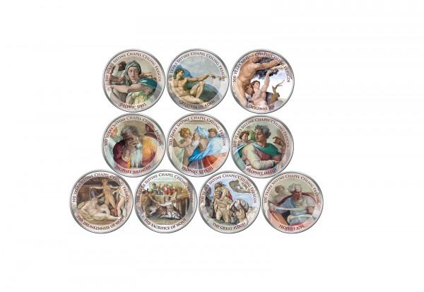 500 Jahre Fertigstellung Sixtinischen Kapelle 10er Kollektion mit Farbmotiv im Etui inkl. Zertifikat