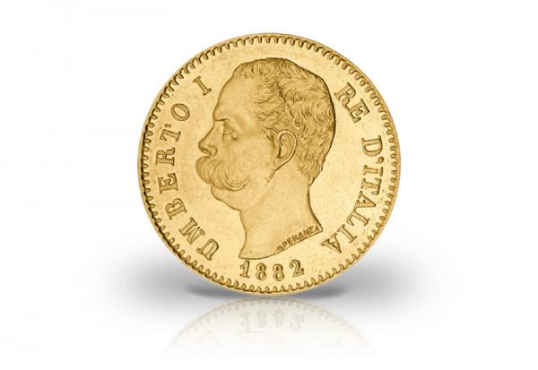 20 Lire Goldmünze 1878-1900 Italien Umberto I.
