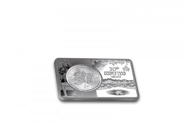 Maple Leaf 1 oz Silber 2018 Kanada 30 Jahre Jubiläum eingefasst in einem Barren