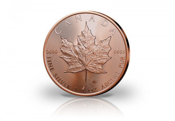 Maple Leaf 1 oz Silber 2020 Kanada veredelt mit Rotgold