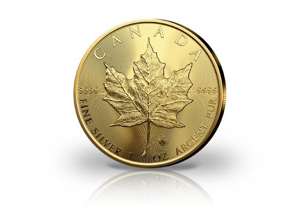 Maple Leaf 1 oz Silber 2020 Kanada veredelt mit 24 Karat Gold