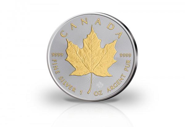 Maple Leaf 1 oz Silber 2021 Kanada veredelt mit 24 Karat Goldapplikation