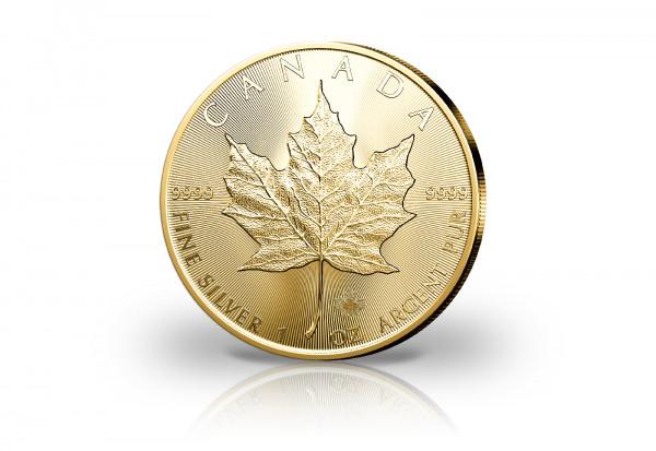 Maple Leaf 1 oz Silber 2021 Kanada veredelt mit 24 Karat Goldauflage