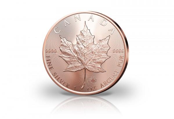 Maple Leaf 1 oz Silber 2021 Kanada veredelt mit Rotgold
