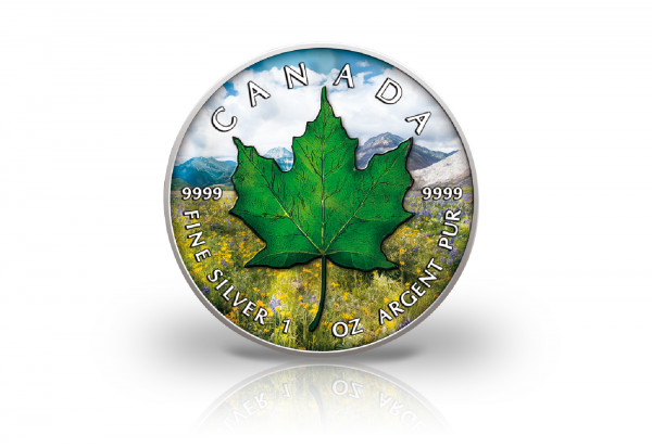Maple Leaf 1 oz Silber 2021 Kanada Frühling veredelt mit Farbapplikation