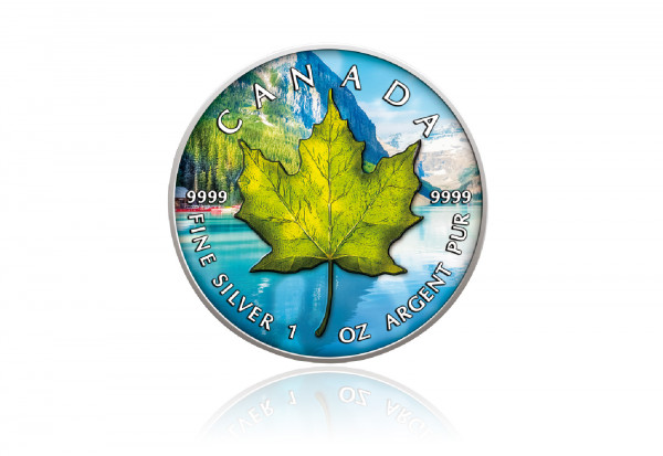 Maple Leaf 1 oz Silber 2021 Kanada Sommer veredelt mit Farbapplikation