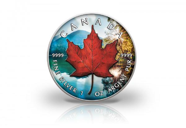 Maple Leaf 1 oz Silber 2021 Kanada Herbst veredelt mit Farbapplikation