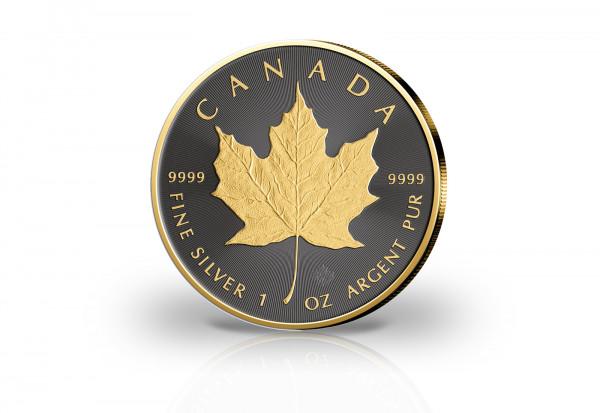 Maple Leaf 1 oz Silber 2021 Kanada veredelt mit Ruthenium und 24 Karat Goldapplikation