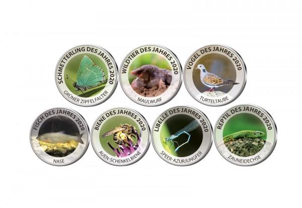 Tiere des Jahres 2020 7er Kollektion mit Farbmotiv im Etui inkl. Zertifikat