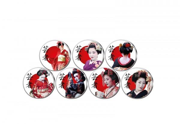 Japans Geishas 7er Kollektion mit Farbmotiv im Etui inkl. Zertifikat