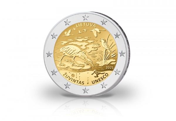 2 Euro 2021 Litauen Biosphärenreservat von Zuvintas